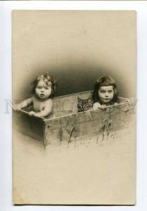 251025 NUDE Kids Girl in Box PISSY CAT Kitty Vintage PHOTO PC