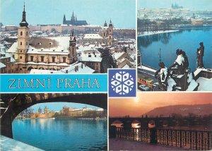 Czech Republic Prague during winter several aspects Postcard