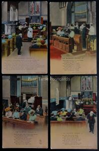 THE VOLUNTEER ORGANIST Bamforth Song Cards c1910 set of 4 No 4642 1/2/3/4