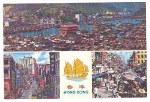 3-Views, Bird's Eye View-Aberdeen, Des Voeux Rd. Central H.K., Market- Kowloo...