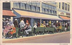 Florida Saint Petersburg The Famous Green Benches 1940