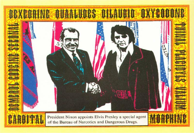 Elvis Presley and Richard Nixon in 1970 with Names of Drugs