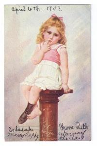 Penitence Pretty Girl 1907 UDB  Vintage Postcard