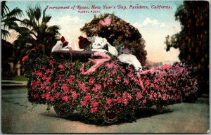 c1910s Pasadena Rose Parade Postcard Floral Float Street View MITCHELL Unused