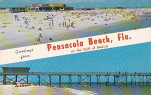 Florida Greetings From Pensacola Beach Showing Bathing Beach and Fishing Pier