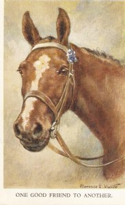Florence E. Valter. Horse.One good friend  to nother Vintage Valentine PC