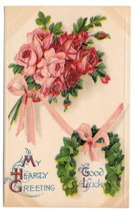 Good Luck Greetings Postcard Bouquet of Roses Ivy Horseshoe