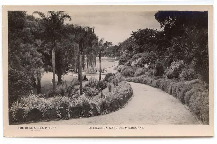 RPPC, Melbourne, Vic., Aust., View in Alexandra Gardens