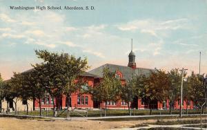 Aberdeen South Dakota~Washington High School~Fence Around Lawn~Dirt Road~1912