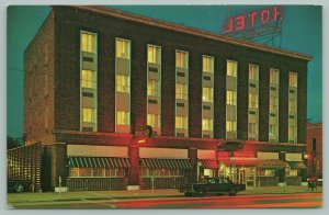 Ciare Michigan~Doherty Motor Hotel~Neon Sign~Night~Parking Meters~Canopy~1960's