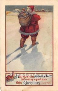 Santa Claus Postcard Old Vintage Christmas Post Card 1920