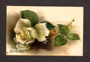 Happy Birthday Greetings Postcard White Roses Tuck's Tucks Raphael Tuck and Sons