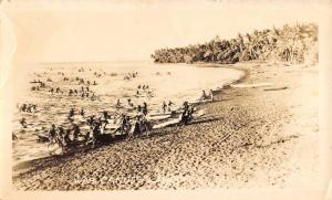 Tahiti War Canoes On Beach Real Photo Antique Postcard K72315