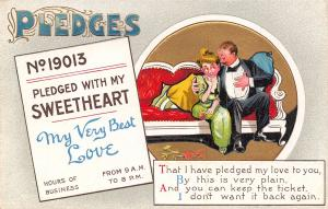 BB London Pledges~No 19013~With My Sweetheart~My Very Best Love~Couple~1910