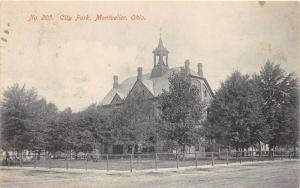 Montpelier Ohio~City Park~Fence Around Lawn~1909 B&W Postcard