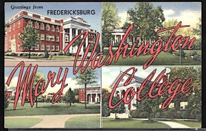 USA Postcard Large Letter Greetings From Mary Washington College CDS 1946