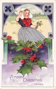 Christmas~Little Girl Hangs on to Dutch Cap~Windmill~Purple Silver Art~Embossed