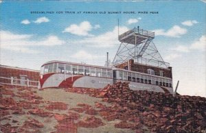Streamlined Cog Train At Famous Old Summit House Pikes Peak Tennessee