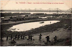 CPA INDOCHINA Tonkin Les bords du Fleuve Rouge VIETNAM (958612)