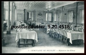 4518 - NICOLET Quebec Postcard 1910s Seminary Interior Dining Room by Masselotte