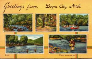Michigan Greetings From Boyne City 1942 Curteich