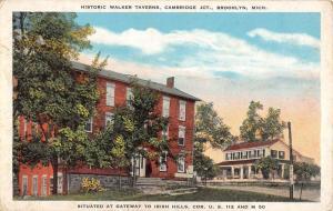 Brooklyn Michigan Walker Taverns Street View Antique Postcard K91563