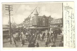 Crowded boardwalk, American Hotel and Garden,Atlantic City, New Jersey,PU-00-10s