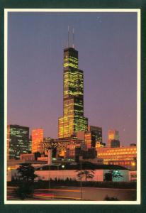 Sears Tower NIGHT SCENE Chicago Sunset Illinois City Skyline IL Postcard