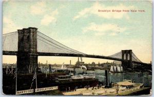 Vintage New York City Postcard BROOKLYN BRIDGE w/ East River Scene 1914 Cancel