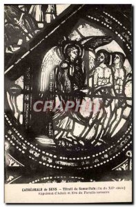 Old Postcard Stained Sens Cathedrale Samaritan
