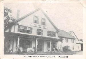 CANAAN MAINE RALPHS INN BLACK & WHITE PHOTO POSTCARD c1941