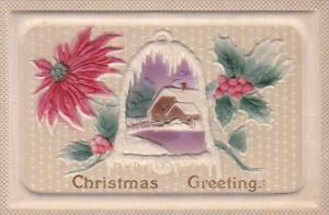 Christmas Greetings Landscape Scene Embossed