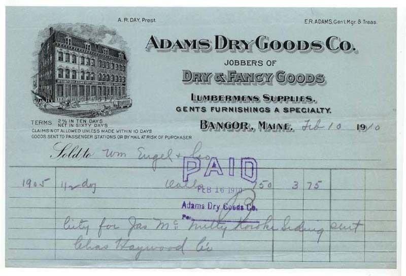 1910 Billhead, ADAMS DRY GOODS CO., Bangor, Maine