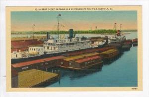 Harbor Scene showing M&M Steamships & Pier, Norfolk, Virginia, 1930-40s