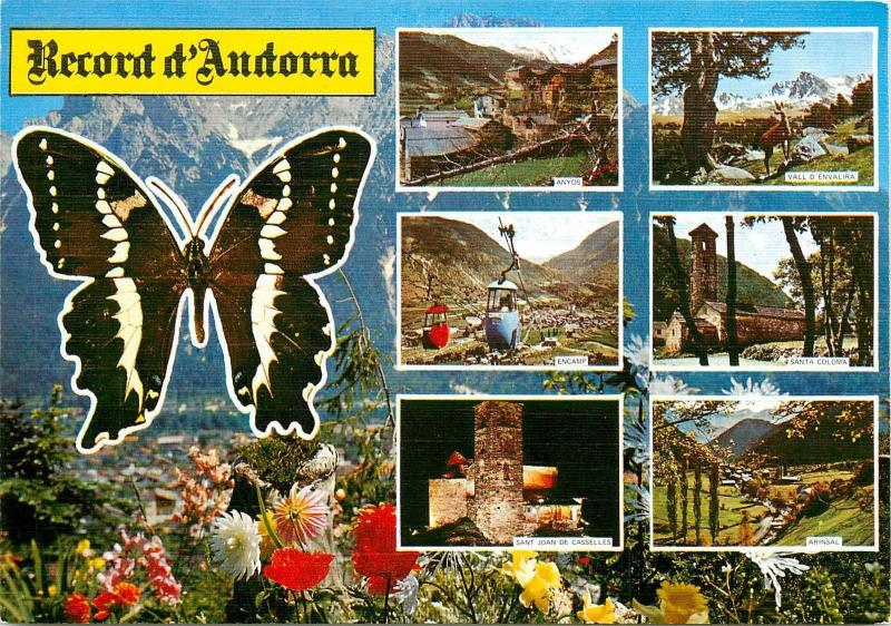 Andorra divers aspects & butterfly postcard
