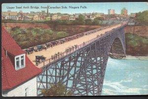 Ontario NIAGARA FALLS Upper Street Arch Bridge from Canadian Side - Divided Back