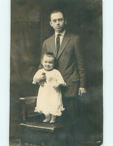 Pre-1929 rppc BABY WITH BUTTON SHOES HOLDING TOY Berwick Pennsylvania PA t2861