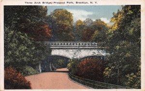 Three Arch Bridge Prospect Park, Brooklyn, NY., Early Postcard, Used