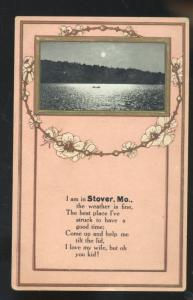 I AM IN STOVER MISSOURI LAKE SCENE POETRY VINTAGE POSTCARD BROWNING MO.