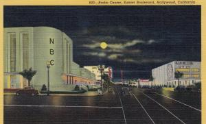 HOLLYWOOD, California, 1930-40s; Radio Center, Sunset Boulevard at Night