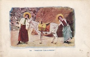 Wireless Tail-O-Phone, Two women and a Donkey, 1900-10s