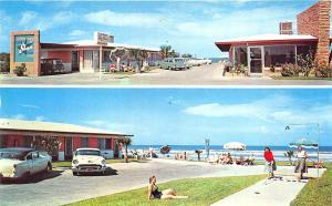 Daytona Beach FL Day Star Court, Duo View Old Cars Postcard