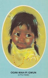 Indian Child , Ogini-Wah-Pi Gwun , Little Rose ; Artist Audrey Young Oppel , ...