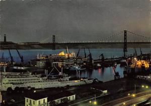 Portugal Old Vintage Antique Post Card Ponte Salazar, de Noite Lisboa 1968