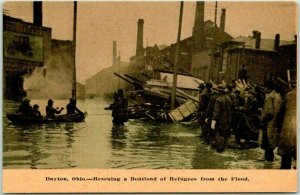 Dayton, Ohio Postcard Rescuing a Boatload of Refugees from the Flood c1913