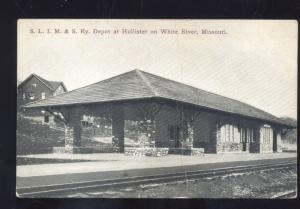 HOLLISTER MISSOURI AT WHITE RIVER RAILROAD DEPOT STATION VINTAGE POSTCARD MO.