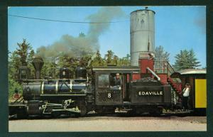 Edaville No 8 Steam Engine Train WATER TOWER Massachusetts MA Railroad Postcard