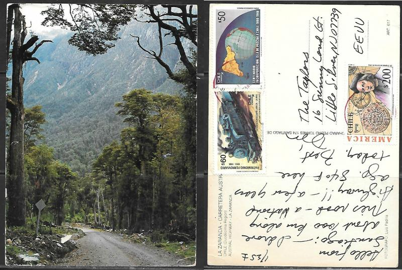 Chile Austral Highway, mailed to USA