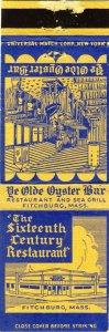 Fitchburg, Massachusetts/MA Match Cover, Sixteenth Century Restaurant