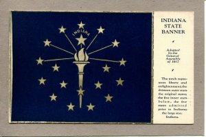 Postcard IN Indianapolis Indiana State Banner Torch Stars -648